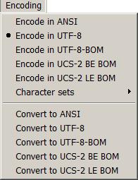 меню Кодировки (Encoding)