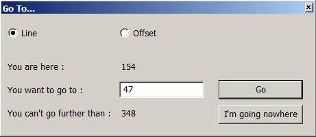окно перехода на строку с введённым номером
